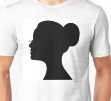 Woman's face with long lashes and neat bun Unisex T-Shirt
