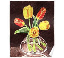 Tulips Bouquet In Red And Yellow Poster
