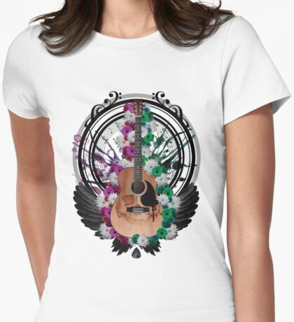 Acoustic Guitar Art Womens Fitted T-Shirt