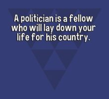 A politician is a fellow who will lay down your life for his country.   by margdbrown