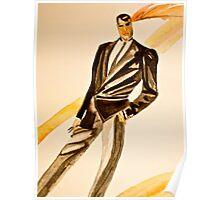 Watercolor tuxedo Poster
