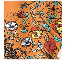 Hand Drawn Floral on Orange Background Poster