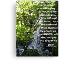 Isaiah 60 v 1-2 in a Waterfall Canvas Print