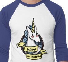 I Believe in Unicorns Men's Baseball ¾ T-Shirt