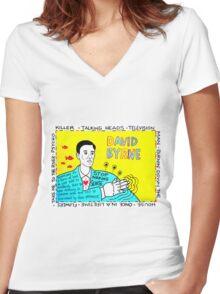 David Byrne Pop Folk Art Women's Fitted V-Neck T-Shirt