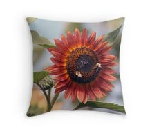 Bees Gathering Nectar Throw Pillow