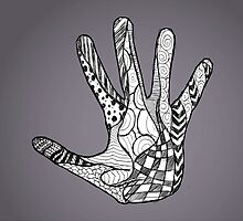 Abstract Doodle Hand (B+W) by Mannykat8x