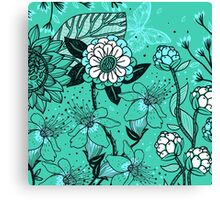 Gorgeous Floral on Teal Background Canvas Print
