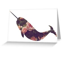 Narwhal - Floral Greeting Card