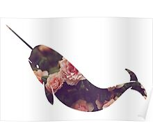Narwhal - Floral Poster