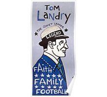Tom Landry Dallas Cowboys Football Folk Art Poster