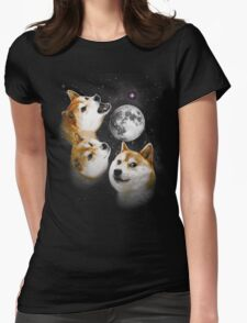 Three Doge Moon Womens Fitted T-Shirt