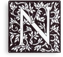 William Morris Inspired Letter N (Ebay Listed) Canvas Print