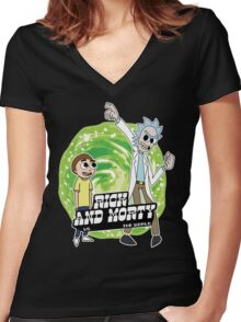 Rick and Morty vs The World Women's Fitted V-Neck T-Shirt