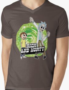 Rick and Morty vs The World Mens V-Neck T-Shirt