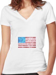 Tie Dye American Flag Women's Fitted V-Neck T-Shirt