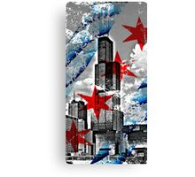 Chicago Flag Skyline Tower Canvas Print