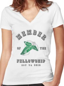Fellowship (White Tee) Women's Fitted V-Neck T-Shirt