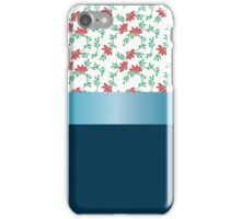 Design red flowers and blue ribbon. iPhone Case/Skin