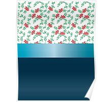 Design red flowers and blue ribbon. Poster