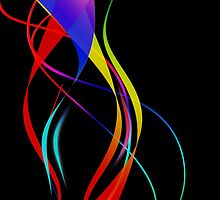 Waves of Color on Black  by pugmom4