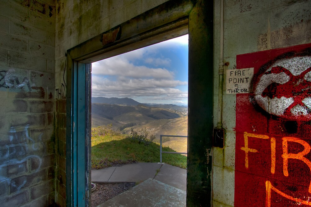 Mt. Tamalpais from abandoned building, Marin Headlands by Don Claybrook