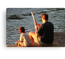 Gone Fishing With Dad Canvas Print