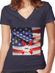 American Flag with Dynomite Women's Fitted V-Neck T-Shirt
