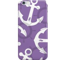 Nautical Purple Shark Anchors Pattern iPhone Case/Skin