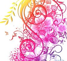 Colorful Retro Floral Pattern by iEric