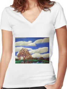 Willow Reflections Women's Fitted V-Neck T-Shirt