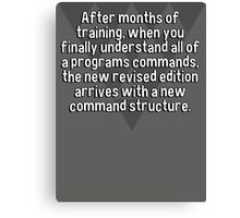 After months of training' when you finally understand all of a programs commands' the new revised edition arrives with a new command structure. Canvas Print