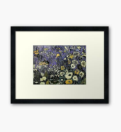 Woodcut Flower Print - Yellow Framed Print
