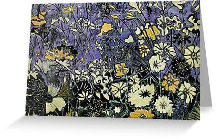 """Woodcut Flower Print - Yellow by Belinda """"BillyLee"""" NYE (Printmaker)"""