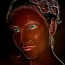 Brown portrait with green eyes by Valentina Walker