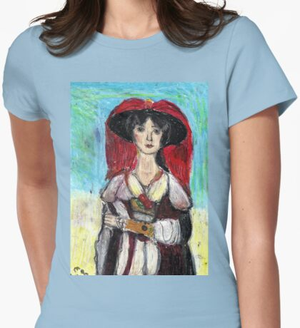 Lady With Red Feather Hat(after Lawrence) Womens Fitted T-Shirt