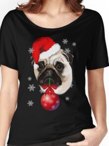 Merry Christmas Pug Women's Relaxed Fit T-Shirt