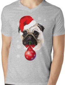 Merry Christmas Pug Mens V-Neck T-Shirt