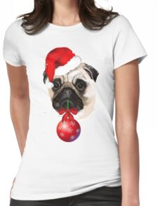Merry Christmas Pug Womens Fitted T-Shirt