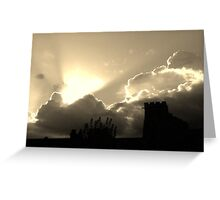 Clouds and sunset over church Greeting Card