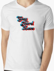 Gay Nerd Love: 3D Mens V-Neck T-Shirt