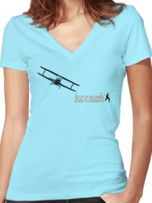 North by Northwest (black) Women's Fitted V-Neck T-Shirt