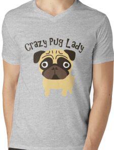 Crazy Pug Lady Mens V-Neck T-Shirt