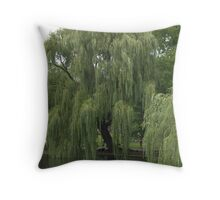 Garden Willow Tree Over Water Throw Pillow