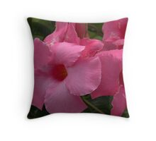 Garden Pink Wind Blown Flower Throw Pillow