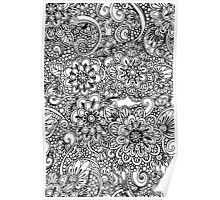 Hand drawn floral ornaments Poster