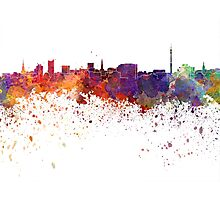 Dortmund skyline in watercolor background Photographic Print