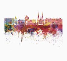 Strasbourg skyline in watercolor background One Piece - Short Sleeve