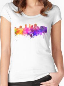Akron skyline in watercolor background Women's Fitted Scoop T-Shirt