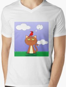 cat and birds singing Mens V-Neck T-Shirt